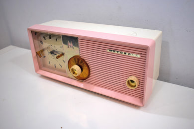 Sassy Pink 1957 Motorola Model 5C24PW Vacuum Tube AM Clock Radio Rare Color Sounds Wonderful!