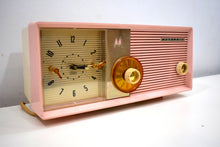 Load image into Gallery viewer, Sassy Pink 1957 Motorola Model 5C24PW Vacuum Tube AM Clock Radio Rare Color Sounds Wonderful!