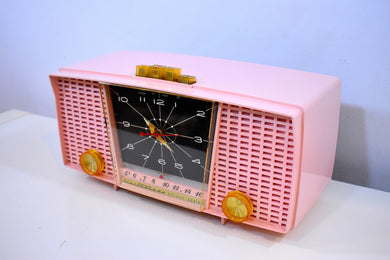 Carnation Pink 1959 Electrohome Model 5C-18A AM Tube Clock Radio Near Mint Condition Sounds Sweet!