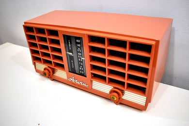 Pumpkin Spice 1956-1957 Arvin Model 3561 Vacuum Tube Radio Dual Speaker Sounds Great!