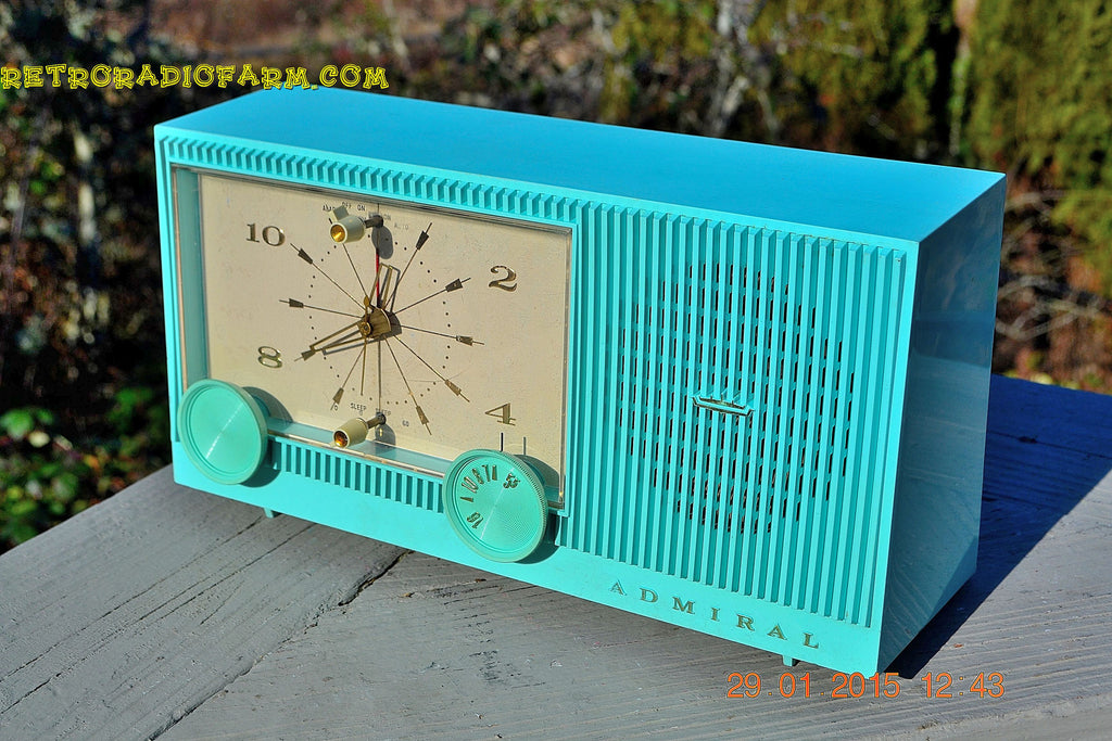 "SOLD! - Feb 18, 2015 - IMMACULATE AQUA Retro Jetsons 1964 Admiral Radio Model Y3149 ""Celebrity"" Tube AM Clock Radio WORKS! , Vintage Radio - Admiral, Retro Radio Farm  - 1"