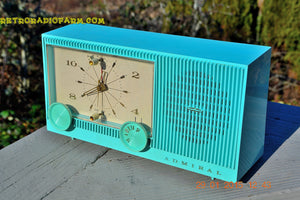 "SOLD! - Feb 18, 2015 - IMMACULATE AQUA Retro Jetsons 1964 Admiral Radio Model Y3149 ""Celebrity"" Tube AM Clock Radio WORKS! - [product_type} - Admiral - Retro Radio Farm"