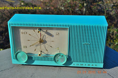 "SOLD! - Feb 18, 2015 - IMMACULATE AQUA Retro Jetsons 1964 Admiral Radio Model Y3149 ""Celebrity"" Tube AM Clock Radio WORKS! , Vintage Radio - Admiral, Retro Radio Farm  - 2"