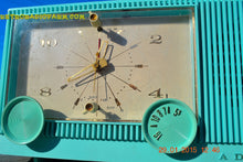 "Load image into Gallery viewer, SOLD! - Feb 18, 2015 - IMMACULATE AQUA Retro Jetsons 1964 Admiral Radio Model Y3149 ""Celebrity"" Tube AM Clock Radio WORKS! - [product_type} - Admiral - Retro Radio Farm"