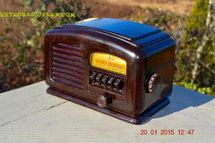SOLD! - Feb 19, 2016 - ART DECO 1940 AIRLINE Model 04BR-513 AM Brown Swirly Marbled Bakelite Tube Radio Totally Restored! , Vintage Radio - Airline, Retro Radio Farm  - 5
