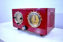 Load image into Gallery viewer, Crimson Red 1954 General Electric Model 566 Retro AM Clock Radio Porthole Design Sounds Great Near Mint Condition!