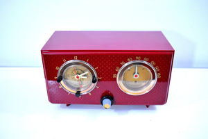 Crimson Red 1954 General Electric Model 566 Retro AM Clock Radio Porthole Design Sounds Great Near Mint Condition!