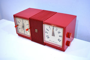 Fiesta Red Retro Deco 1955 Airline Model GSL-1581M Vacuum Tube Clock Radio Rare Model Great Color!