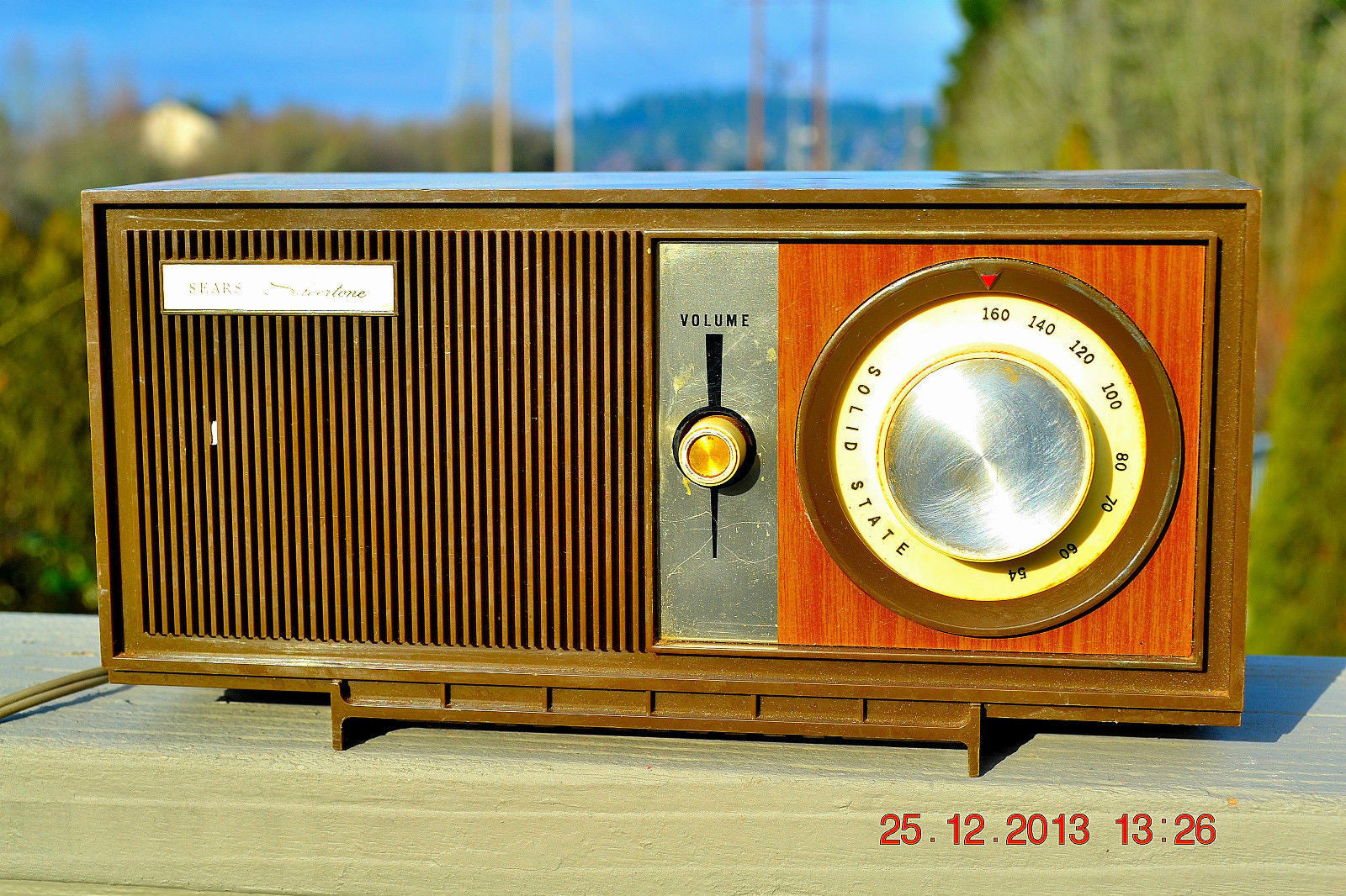 SOLD! - March 20, 2014 - RETRO Modern Fugly 1960's Silvertone Model 6002 Brown Woodgrain Radio Works! , Vintage Radio - Silvertone, Retro Radio Farm  - 1