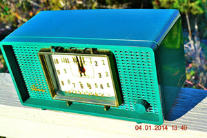 SOLD! - March 8, 2014 - SHERWOOD GREEN Atomic Age Vintage 1955 Sylvania 593 Tube AM Clock Radio WORKS! - [product_type} - Admiral - Retro Radio Farm