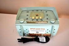 Load image into Gallery viewer, Sea Mist Green 1955 Westinghouse Model H549T5 Vintage Tube AM Clock Radio Cutie and Sounds Dreamy!
