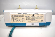 Load image into Gallery viewer, Teal Turquoise 1959 Sylvania Model 1303 Vacuum Tube AM Radio Rare Atomic Age Splendor!