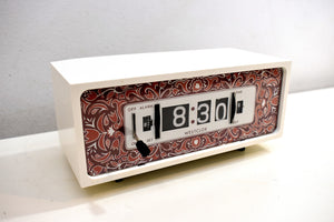 Purple Paisley 1970s Westclox Flip Clock Works Great! Looks Fantastic!