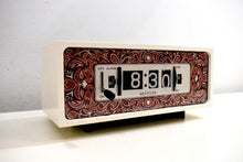 Load image into Gallery viewer, Purple Paisley 1970s Westclox Flip Clock Works Great! Looks Fantastic!