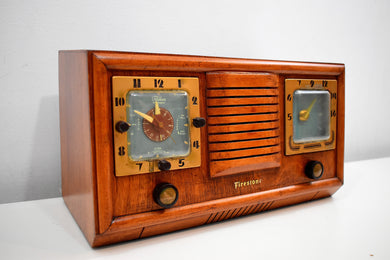 Honey Chestnut Wood 1952 Firestone 4-A-110 Vacuum Tube AM Clock Radio Completely Restore and Sounds Great!