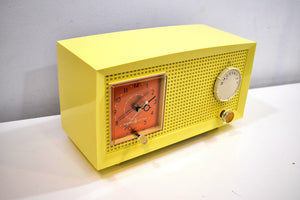 Daffodil Yellow Vintage 1957 General Electric Model C-399 Tube Radio to Brighten Up Your Day!