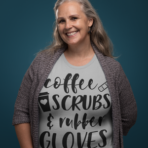 coffee scrubs and rubber gloves tshirt