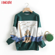 Load image into Gallery viewer, Tangada women sweet green cartoon parttern jumper sweater korean fashion long sleeve o neck pullovers tops  BC47