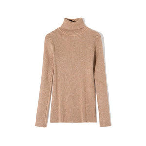 WOTWOY Casual Basic Turtleneck Sweater Women Solid Long Sleeve Knitted Pullovers Women 2020 Autumn Winter Slim Fit Sweater Pink
