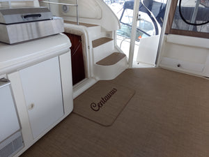 Embroidery on Matworks Duraweave Marine Vinyl Flooring for Boat Cockpit Replacement or Marine Boarding Mats