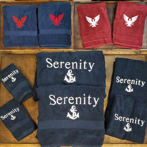 Marine Embroidered Towels