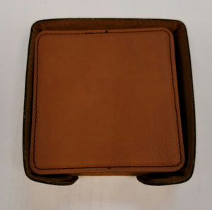 Custom Engraved Leather Coaster Set
