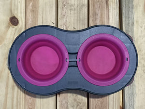 Double Elevated Pop- out Bowl Set  Large Gray/Pink
