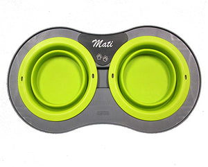 Double Elevated Pop- out Bowl Set  Large Gray/Green