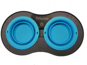 Double Elevated Pop-out Bowl Set Small Gray/Blue