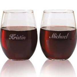 engraved wine glass stemless - Plastic Stemless Wine Glasses