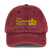 Load image into Gallery viewer, Queen Vintage Cotton Twill Cap