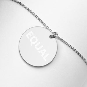 Created Equal Engraved Silver Disc Necklace