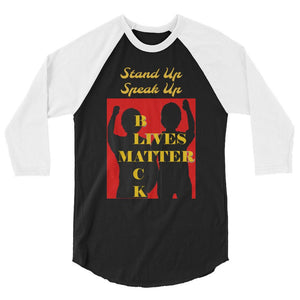 Black Lives Matter 3/4 sleeve raglan shirt - Shannon Alicia LLC