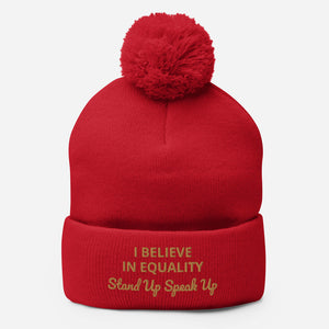 I Believe In Equality Pom-Pom Beanie