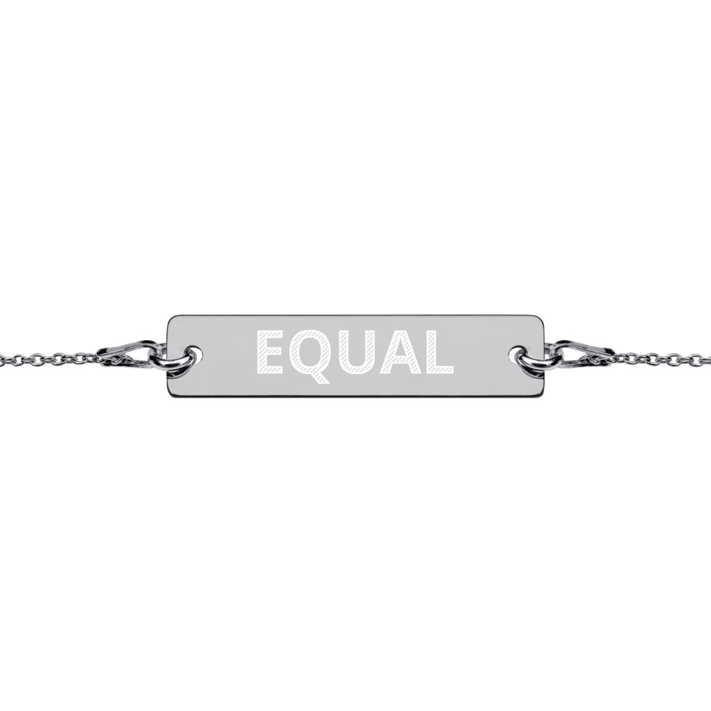 Equal Engraved Silver Bar Chain Bracelet