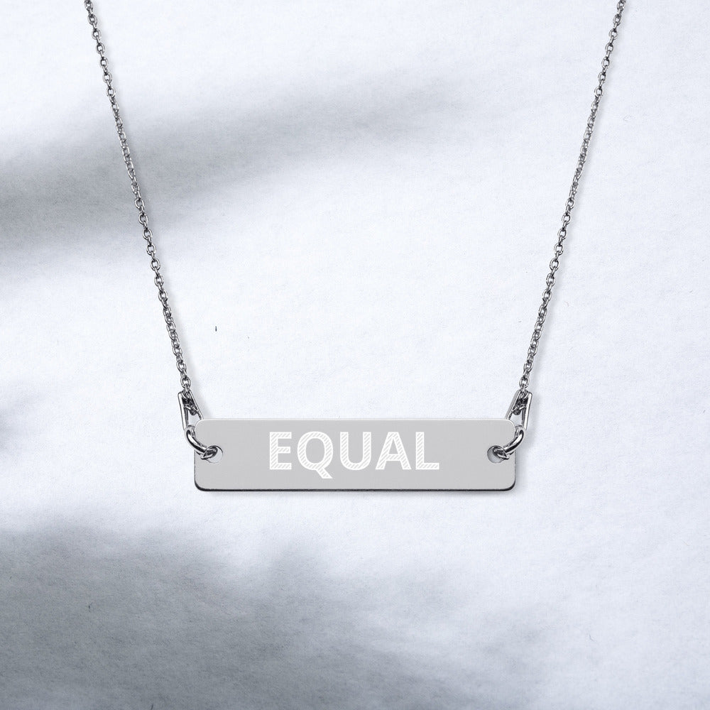 Created Equal Engraved Silver Bar Chain Necklace