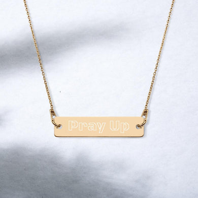 Pray Up Engraved Silver Bar Chain Necklace - Shannon Alicia LLC
