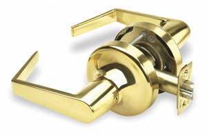 YALE AU5401LN X 605 Lever,  Mechanical,  Heavy Duty,  Not Keyed,  Bright Brass,  2 3/4 in Backset,  Cylindrical