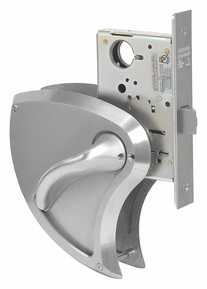 SARGENT 60 8237 BHW 32D RH Mortise Lockset,  Mechanical,  Heavy Duty,  Not Keyed,  Satin Stainless Steel,  2 3/4 in Backset