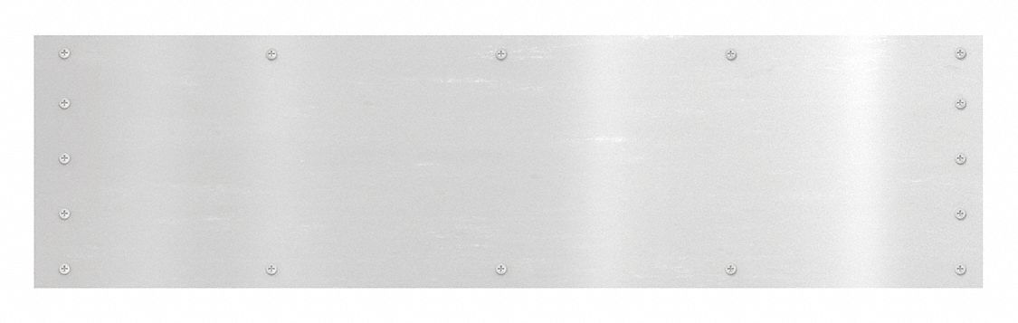 ROCKWOOD 2RGA1 Door Protection Plate, Aluminum, Kick/Stretcher, 12 in Height, 36 in Width