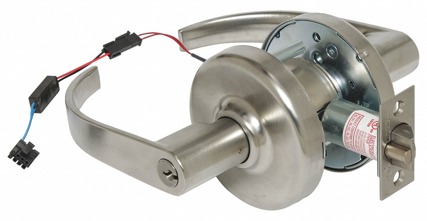 CORBIN CL33903 PZD 626 12AD Lever Lockset,  Electrical,  Extra Heavy Duty,  Keyed Different,  Satin Chrome,  2 3/4 in Backset