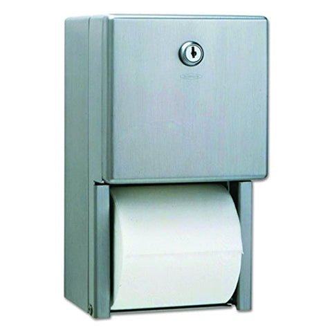 "Bobrick 120216 Washroom 2-roll Bath Tissue Dispenser, 6.5"" x 6.5"" x 11.5"", Satin,Stainless Steel"