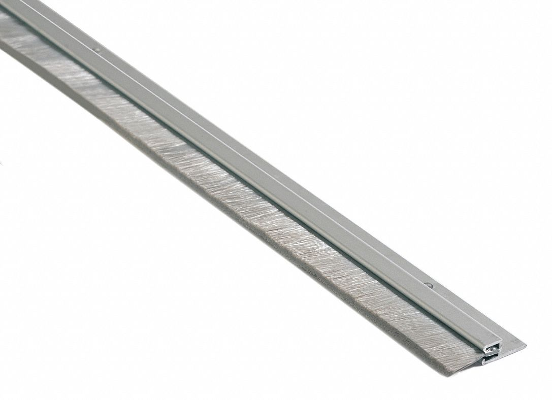 "Nylon Brush Door Sweep, Anodized Aluminum, 8 ft. Length, 3/4"" Flange Height, 1/2"" Insert Size"