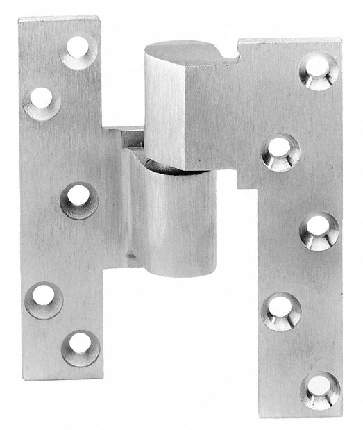 RIXSON 1000019R4XXXA Right Hand Pivot Hinge With Holes, Full Mortise Mounting, Satin Chrome Finish