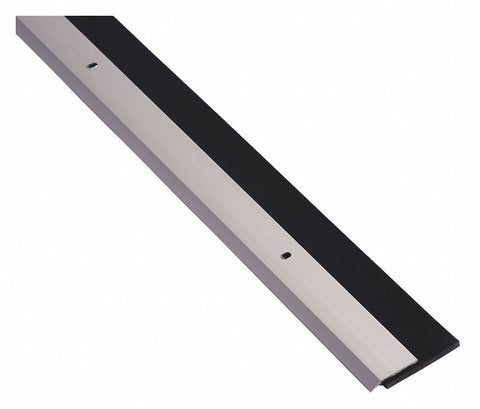 "Door Sweep, Anodized Aluminum, 4 ft. Length, 1-1/4"" Flange Height, 1-3/16"" Insert Size"