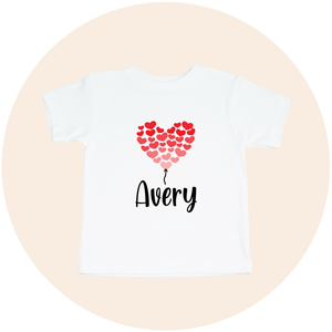 Personalized Red Heart Balloon - Toddler Tee