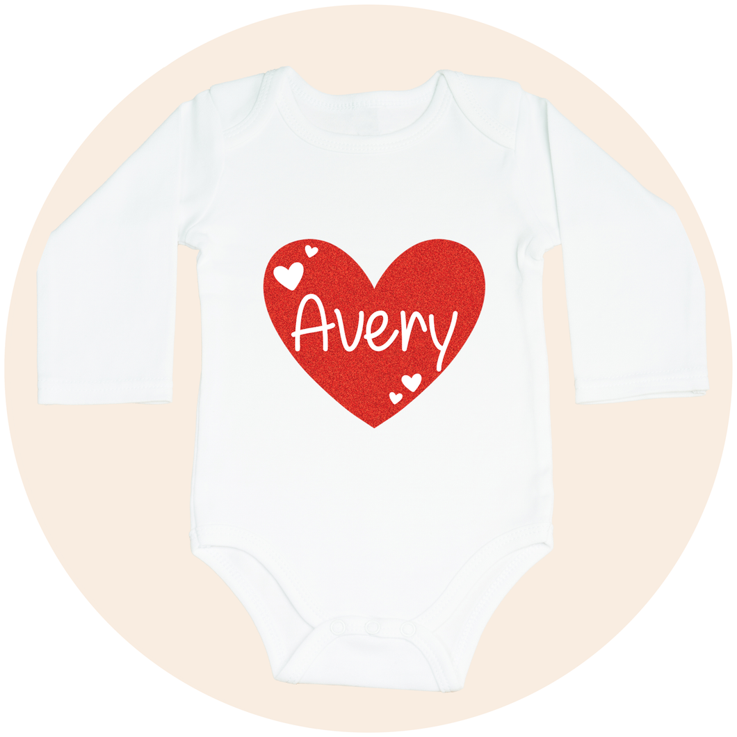 Personalized Red Glitter Heart - Long Sleeve