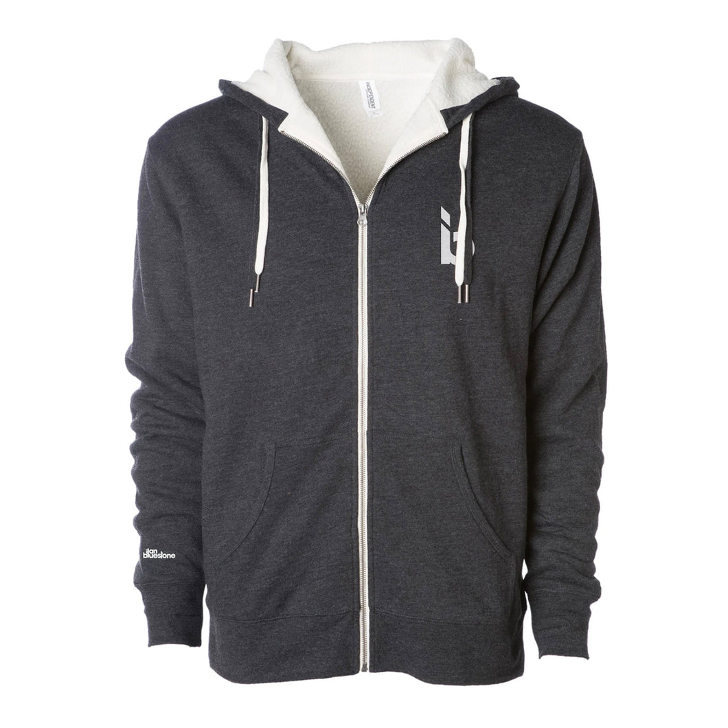 Gray ib Sherpa Lined Zip Up Hoodie