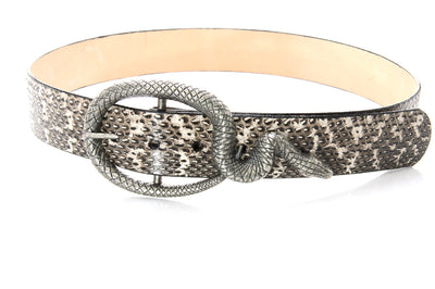 cobra skin belt with oxidized snake buckle