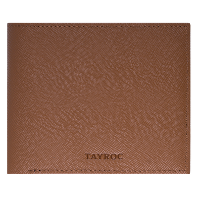 Avon, tan wallet by Tayroc. A bifold wallet with card slots, zipped change pocket and note section, embossed with the Tayroc logo. Front